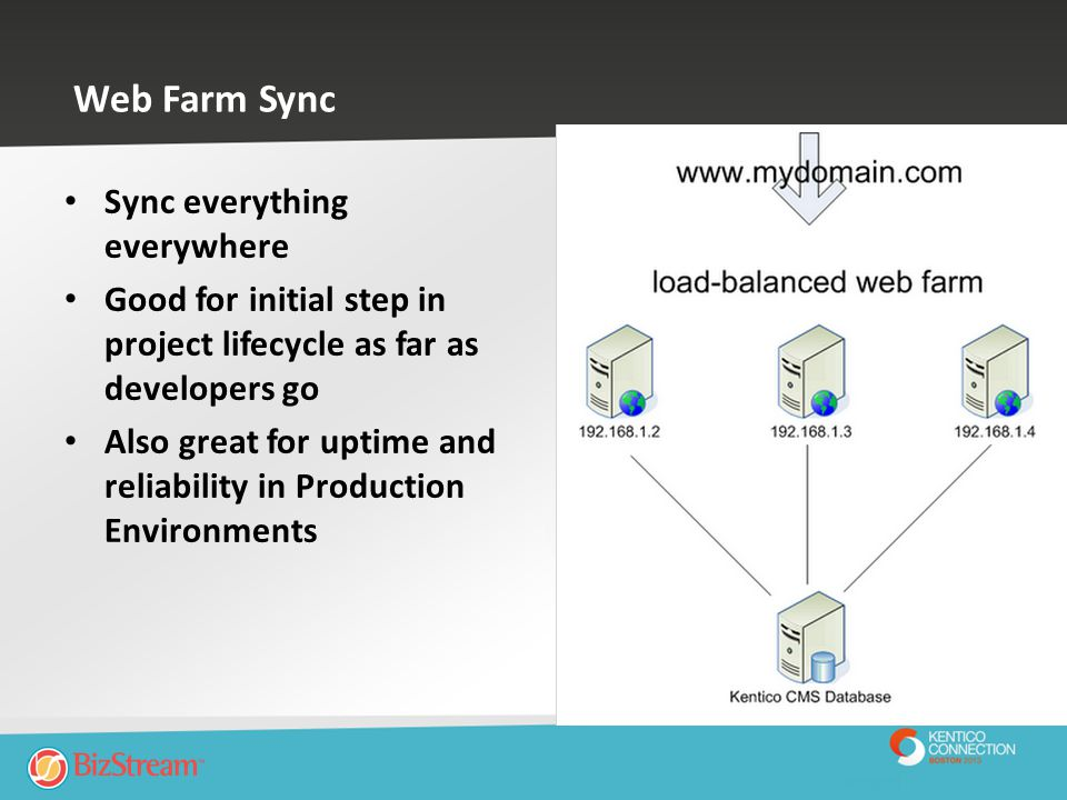 Web Farm Sync Sync everything everywhere Good for initial step in project lifecycle as far as developers go Also great for uptime and reliability in P