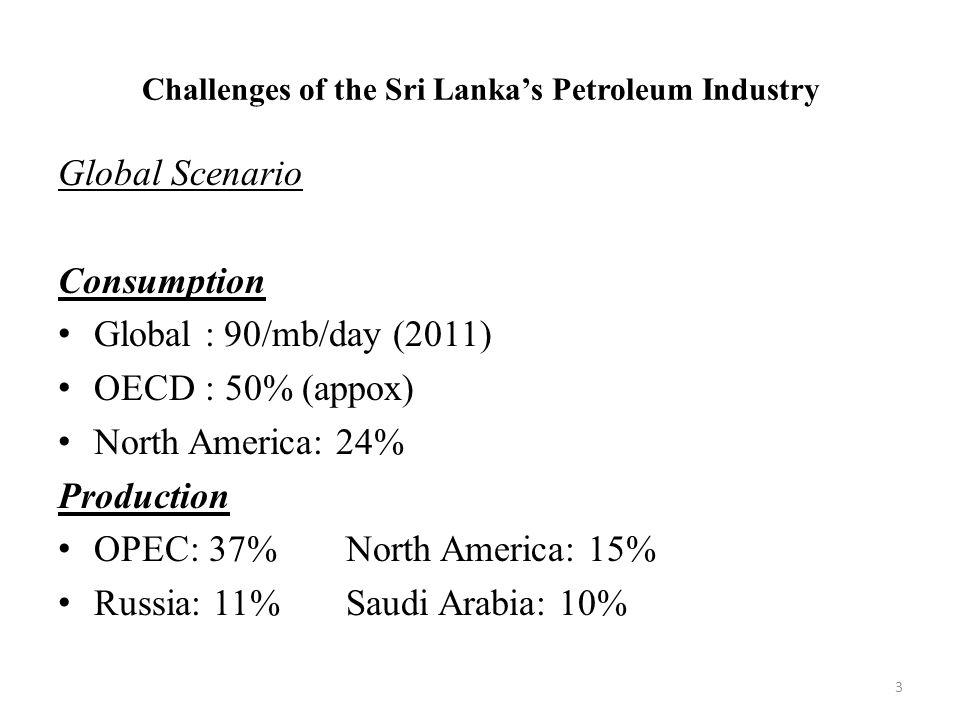Challenges of the Sri Lanka's Petroleum Industry Petroleum product prices: increasing trend Short term demand: price inelastic Current scenario:- Weaker demand in EU - Supply side uncertainties - Additional supplies - Downward stock adjustment 4