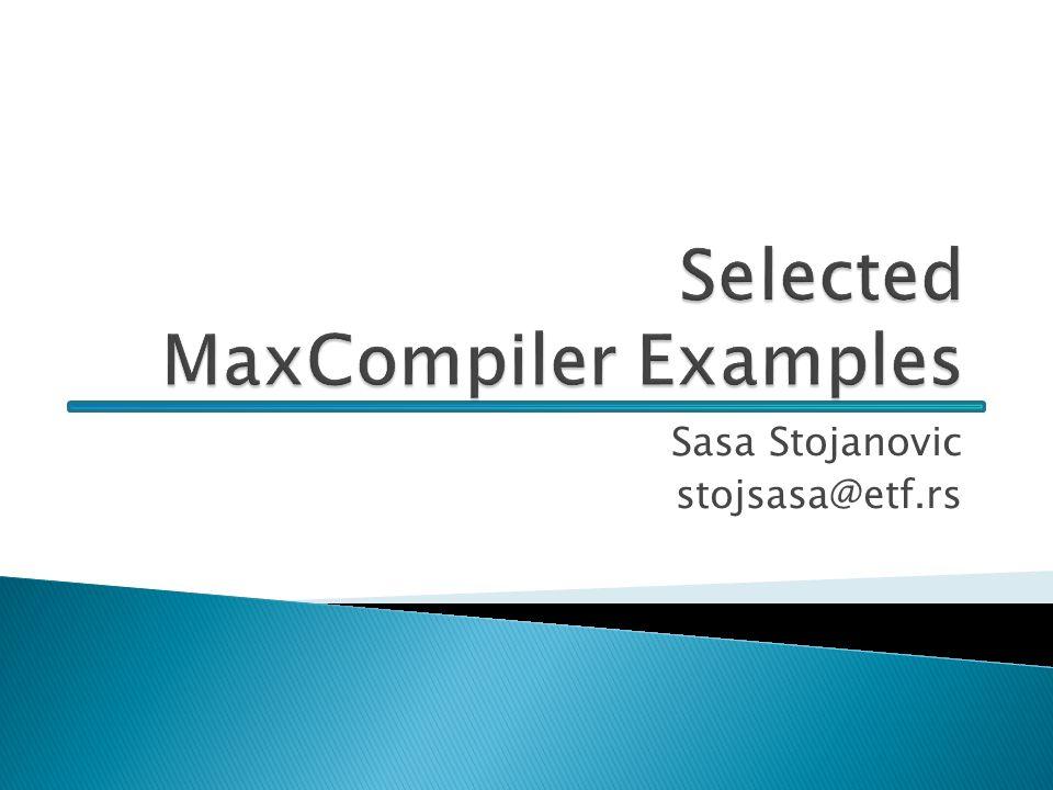 32/x package ind.z4; import com.maxeler.maxcompiler.v1.kernelcompiler.Kernel; import com.maxeler.maxcompiler.v1.kernelcompiler.KernelParameters; import com.maxeler.maxcompiler.v1.kernelcompiler.types.base.HWVar; public class example4Kernel extends Kernel { public example4Kernel(KernelParameters parameters) { super(parameters); // Input HWVar x = io.input( x , hwFloat(8,24)); HWVar y = io.scalarInput( y , hwFloat(8,24)); HWVar result = x + y; // Output io.output( z , result, hwFloat(8,24)); } Example No.