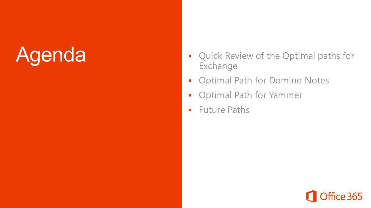  Quick Review of the Optimal paths for Exchange  Optimal Path for Domino Notes  Optimal Path for Yammer  Future Paths