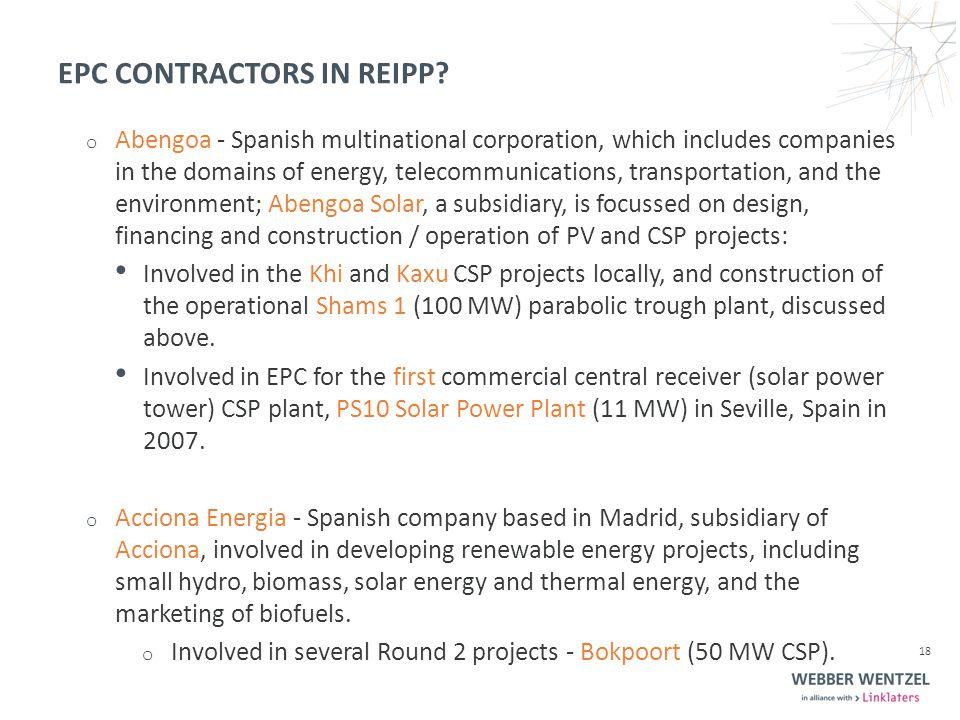 EPC CONTRACTORS IN REIPP.