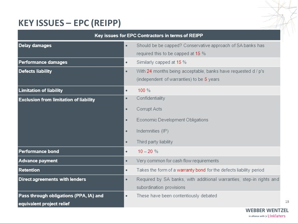 KEY ISSUES – EPC (REIPP) Key issues for EPC Contractors in terms of REIPP Delay damages  Should be be capped.