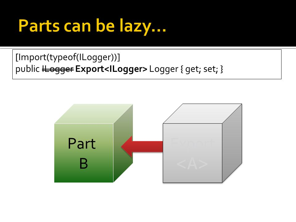 Part B Export Export [Import(typeof(ILogger))] public ILogger Export Logger { get; set; }