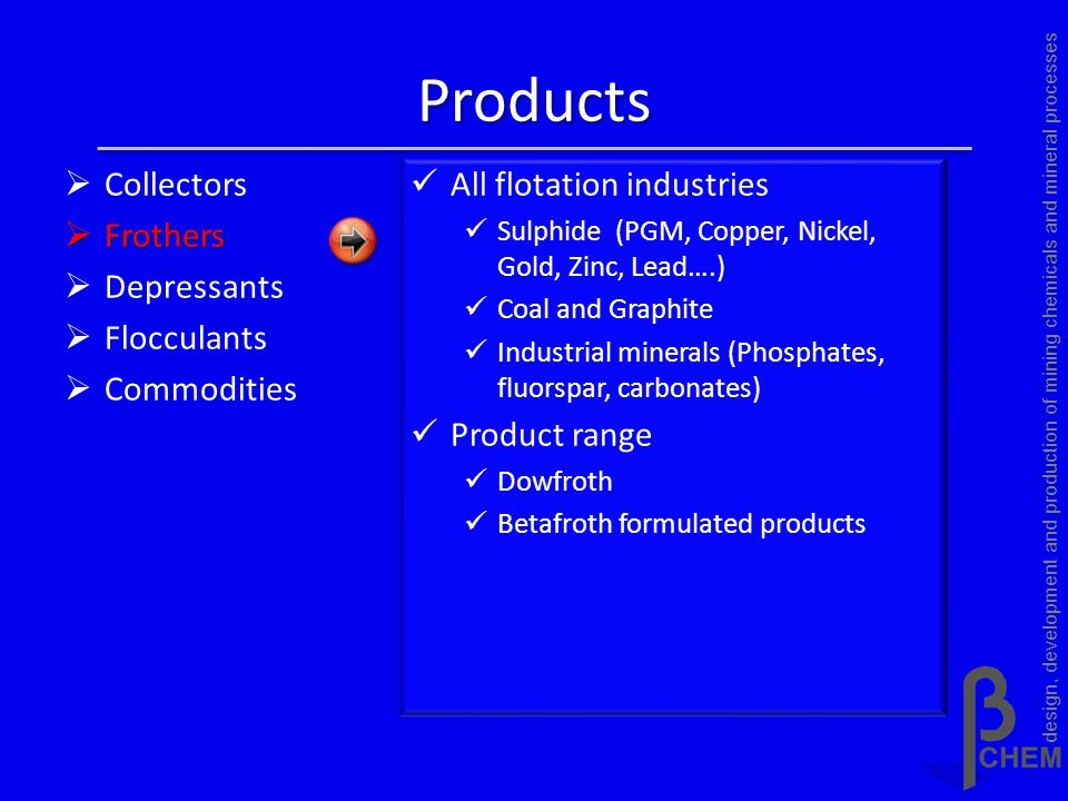 Products  Collectors  Frothers  Depressants  Flocculants  Commodities All flotation industries Sulphide (PGM, Copper, Nickel, Gold, Zinc, Lead….) Coal and Graphite Industrial minerals (Phosphates, fluorspar, carbonates) Product range Dowfroth Betafroth formulated products design, development and production of mining chemicals and mineral processes