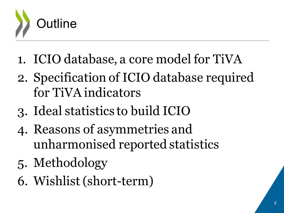 1.ICIO database, a core model for TiVA 2.Specification of ICIO database required for TiVA indicators 3.Ideal statistics to build ICIO 4.Reasons of asy