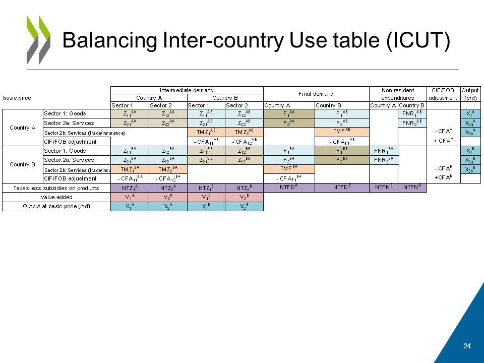 Balancing Inter-country Use table (ICUT) 24