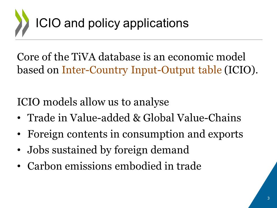 Core of the TiVA database is an economic model based on Inter-Country Input-Output table (ICIO). ICIO models allow us to analyse Trade in Value-added