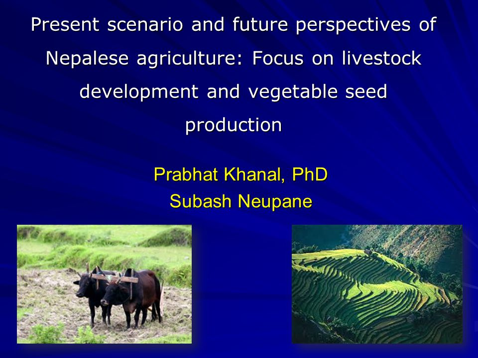 Present scenario and future perspectives of Nepalese agriculture: Focus on livestock development and vegetable seed production Prabhat Khanal, PhD Subash Neupane