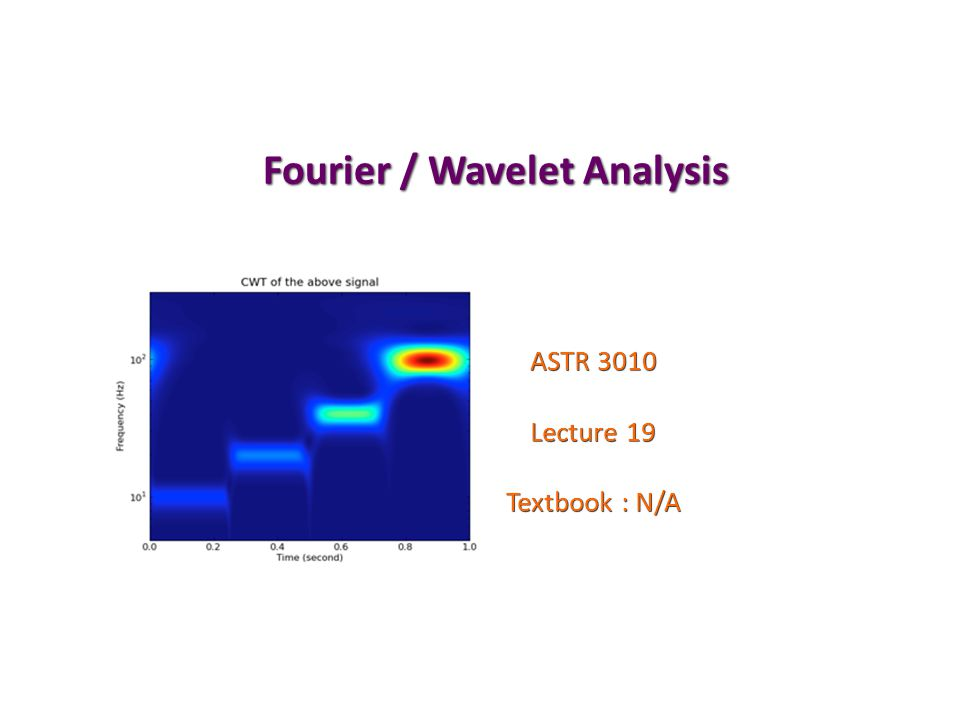 Fourier / Wavelet Analysis ASTR 3010 Lecture 19 Textbook : N/A