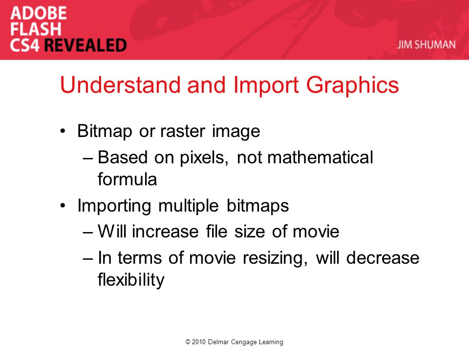 © 2010 Delmar Cengage Learning Understand and Import Graphics Bitmap or raster image –Based on pixels, not mathematical formula Importing multiple bitmaps –Will increase file size of movie –In terms of movie resizing, will decrease flexibility