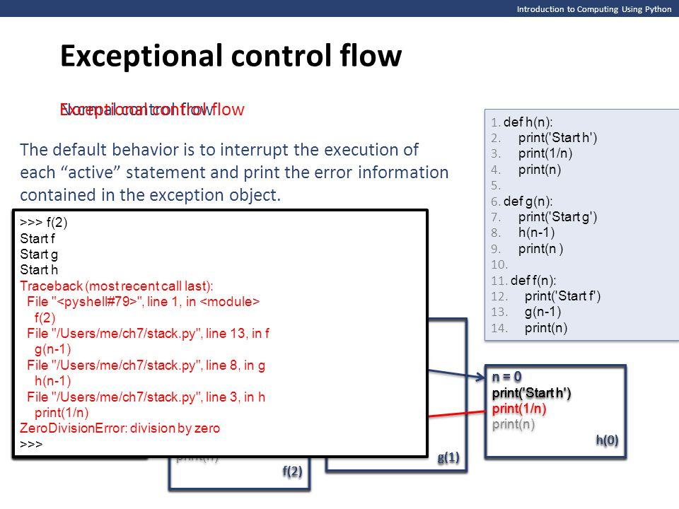 Introduction to Computing Using Python Exceptional control flow >>> f(2) Start f >>> f(2) Start f >>> f(2) Start f Start g >>> f(2) Start f Start g >>