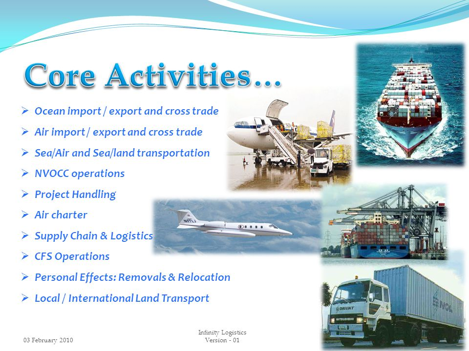  Ocean import / export and cross trade  Air import / export and cross trade  Sea/Air and Sea/land transportation  NVOCC operations  Project Handling  Air charter  Supply Chain & Logistics  CFS Operations  Personal Effects: Removals & Relocation  Local / International Land Transport 03 February 20103 Infinity Logistics Version - 01