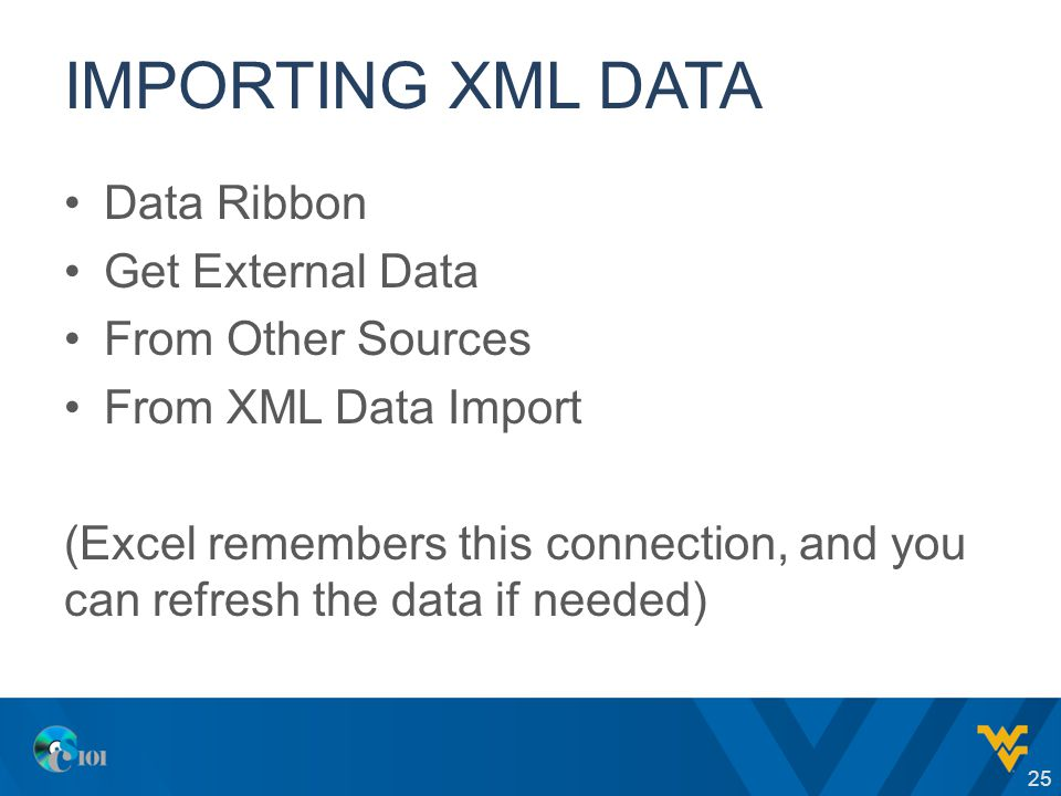 IMPORTING XML DATA Data Ribbon Get External Data From Other Sources From XML Data Import (Excel remembers this connection, and you can refresh the dat