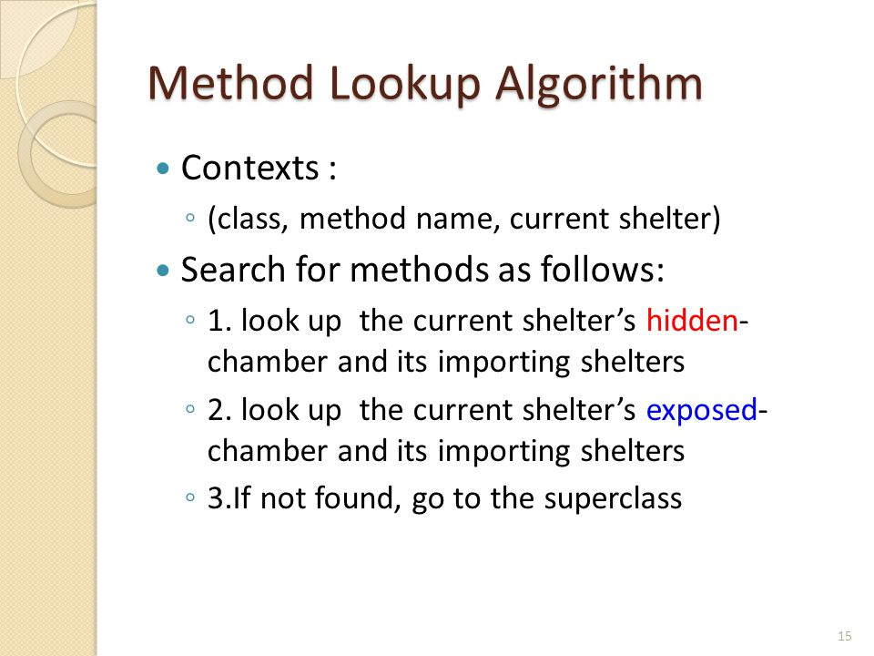 Method Lookup Algorithm Contexts : ◦ (class, method name, current shelter) Search for methods as follows: ◦ 1. look up the current shelter's hidden- c