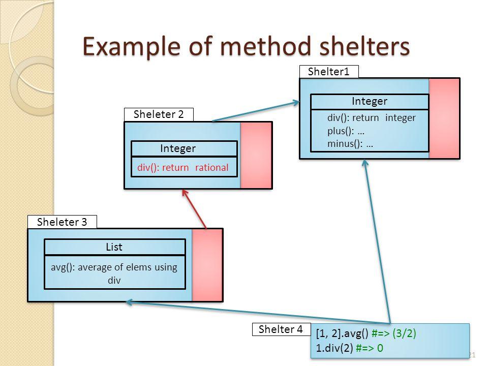 Example of method shelters 21 List avg(): average of elems using div Integer div(): return rational Integer div(): return integer plus(): … minus(): … Shelter1 Sheleter 2 Sheleter 3 [1, 2].avg() #=> (3/2) 1.div(2) #=> 0 [1, 2].avg() #=> (3/2) 1.div(2) #=> 0 Shelter 4