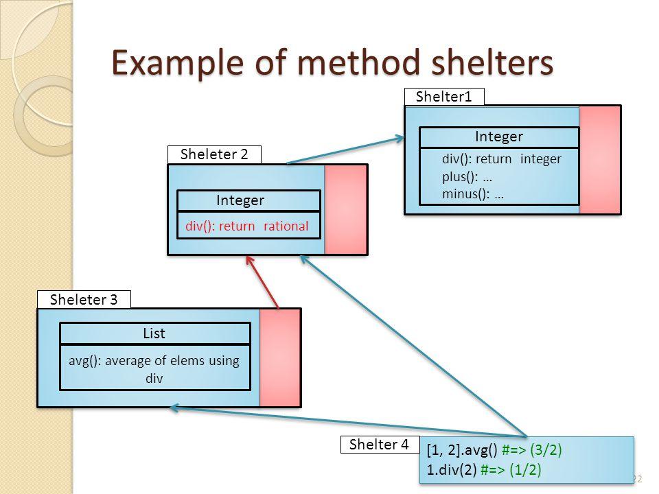 Example of method shelters 22 List avg(): average of elems using div Integer div(): return rational Integer div(): return integer plus(): … minus(): … Shelter1 Sheleter 2 Sheleter 3 [1, 2].avg() #=> (3/2) 1.div(2) #=> (1/2) [1, 2].avg() #=> (3/2) 1.div(2) #=> (1/2) Shelter 4