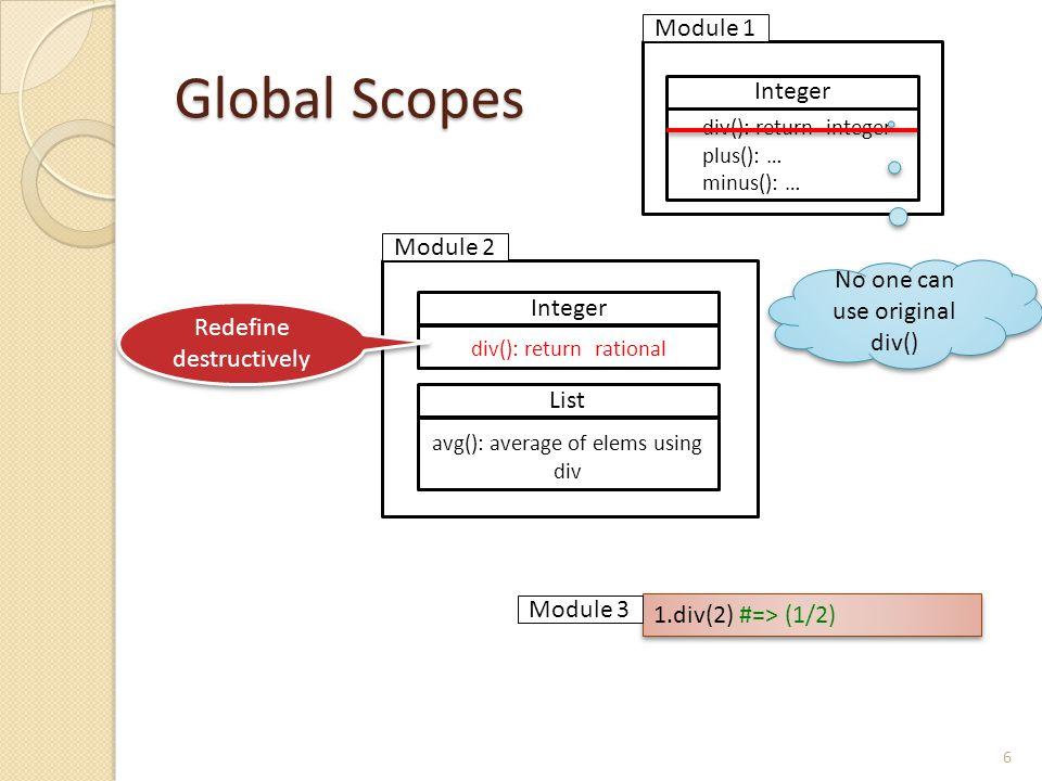 Global Scopes 6 List avg(): average of elems using div Integer div(): return rational Integer div(): return integer plus(): … minus(): … 1.div(2) #=> (1/2) Redefine destructively Module 1 Module 2 Module 3 No one can use original div()