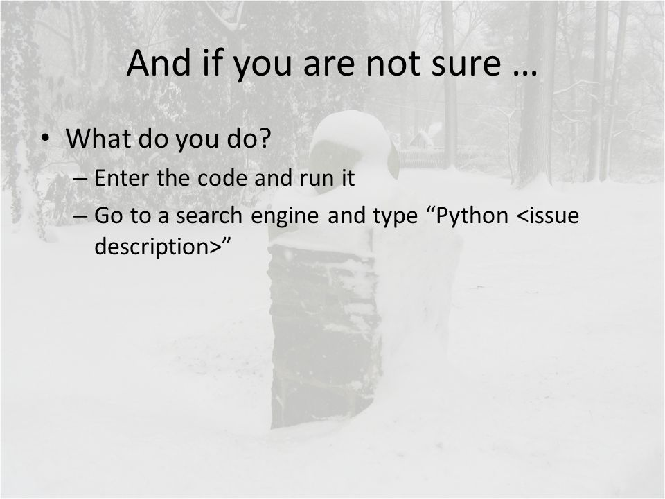 """And if you are not sure … What do you do? – Enter the code and run it – Go to a search engine and type """"Python """""""