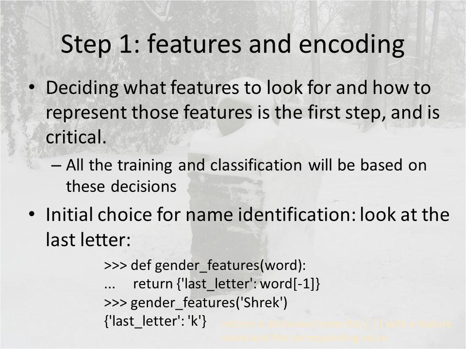 Step 1: features and encoding Deciding what features to look for and how to represent those features is the first step, and is critical.