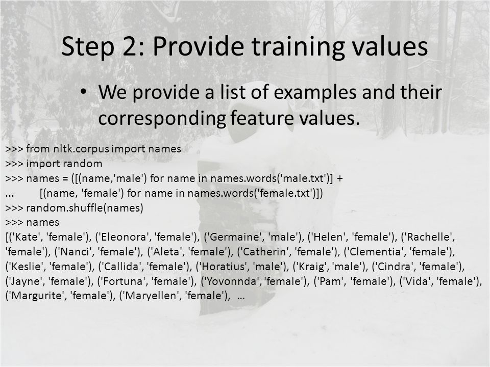Step 2: Provide training values We provide a list of examples and their corresponding feature values. >>> from nltk.corpus import names >>> import ran