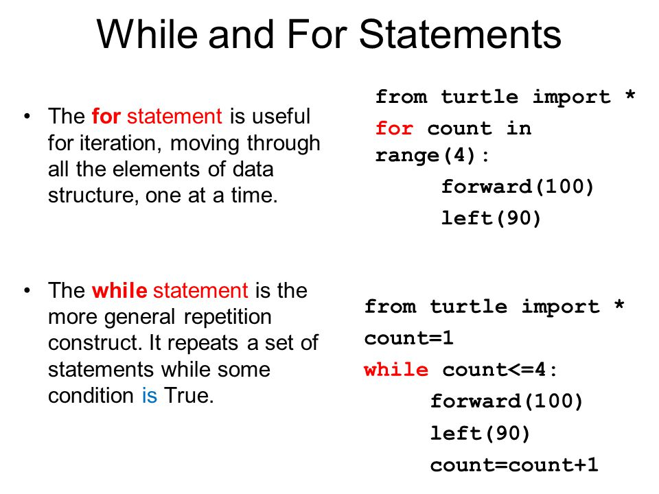 While and For Statements The for statement is useful for iteration, moving through all the elements of data structure, one at a time. The while statem