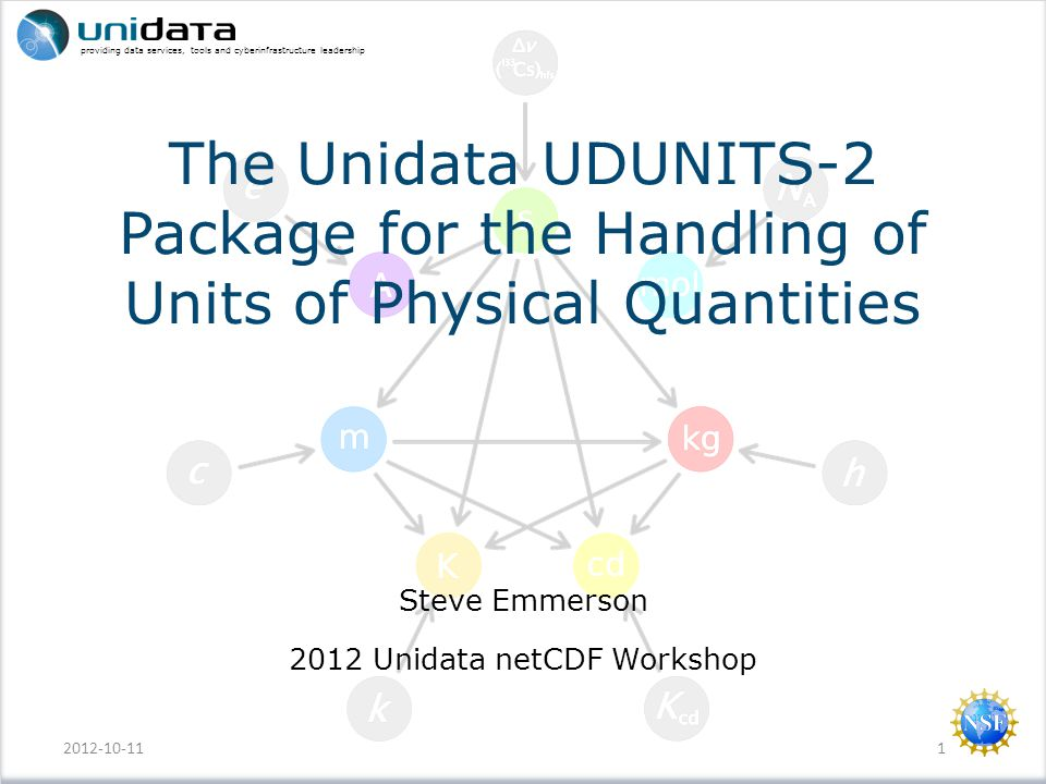 providing data services, tools and cyberinfrastructure leadership The Unidata UDUNITS-2 Package for the Handling of Units of Physical Quantities Steve Emmerson 2012 Unidata netCDF Workshop 2012-10-111