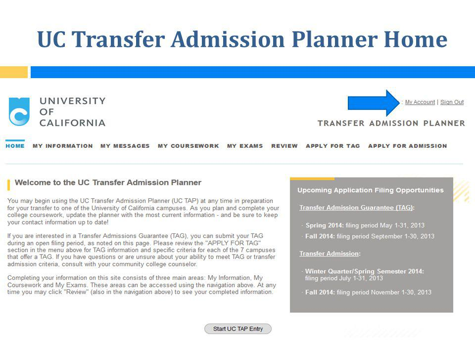 UC Transfer Admission Planner Home
