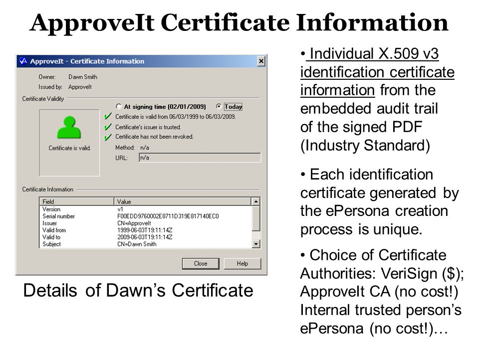 ApproveIt Certificate Information Individual X.509 v3 identification certificate information from the embedded audit trail of the signed PDF (Industry