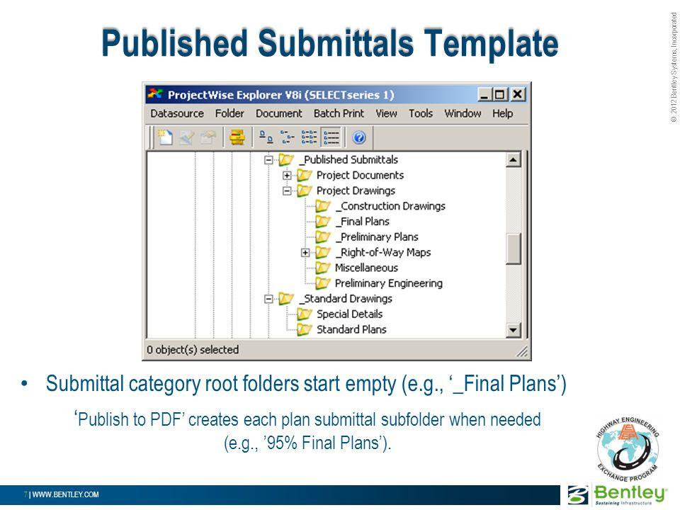 © 2012 Bentley Systems, Incorporated 7 | WWW.BENTLEY.COM Submittal category root folders start empty (e.g., '_Final Plans') ' Publish to PDF' creates