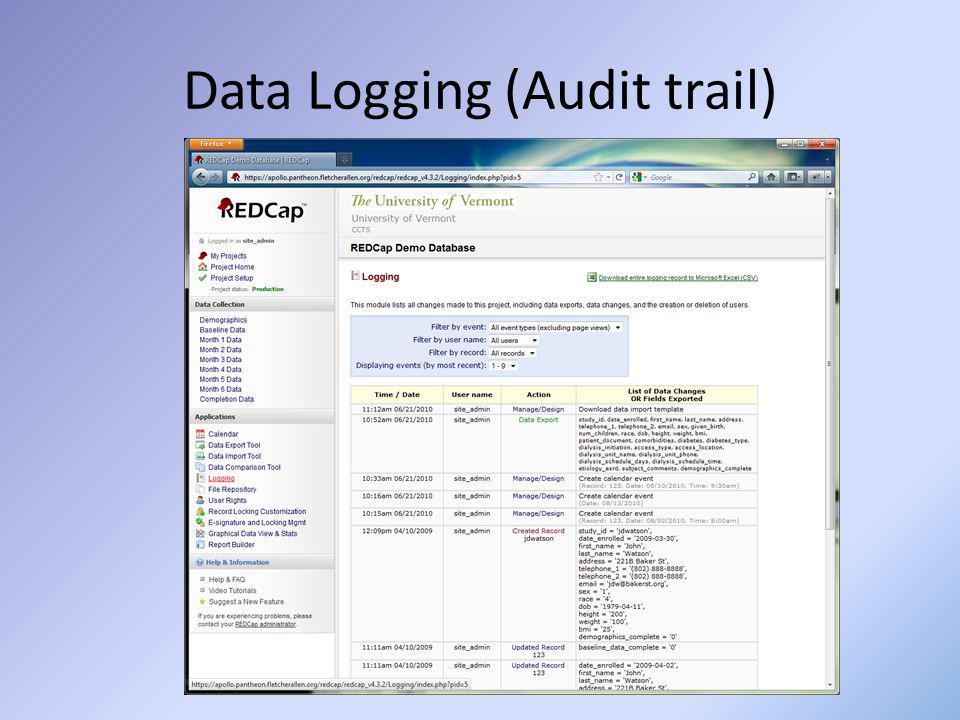 Data Logging (Audit trail)