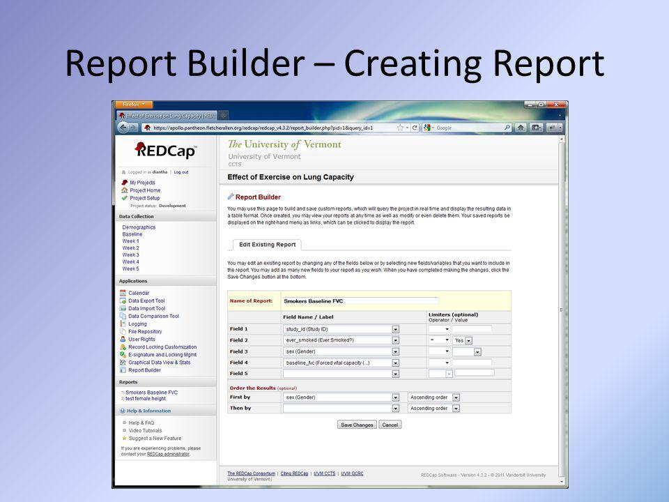 Report Builder – Creating Report