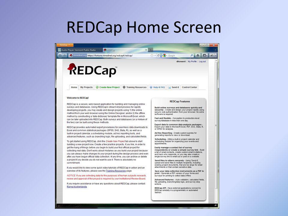 REDCap Home Screen