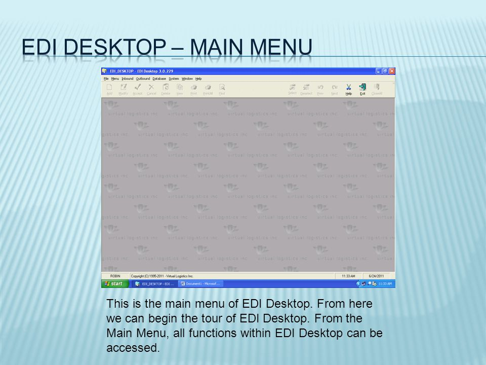 All ASN functions are accessed via the icons on the left hand side of the screen.