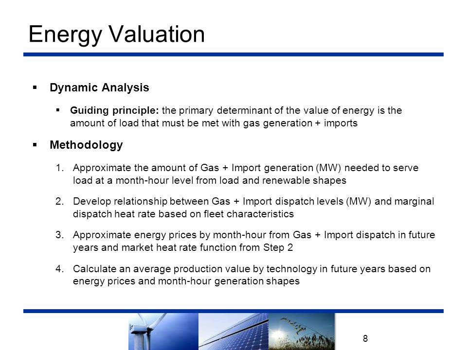 Energy Valuation 8  Dynamic Analysis  Guiding principle: the primary determinant of the value of energy is the amount of load that must be met with