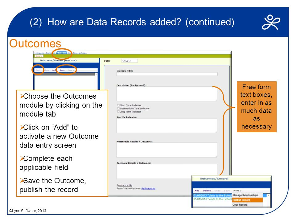 Outcomes (2) How are Data Records added.