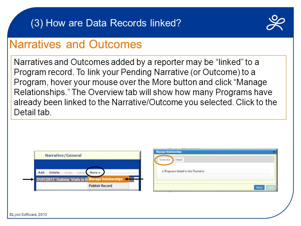 Narratives and Outcomes (3) How are Data Records linked.