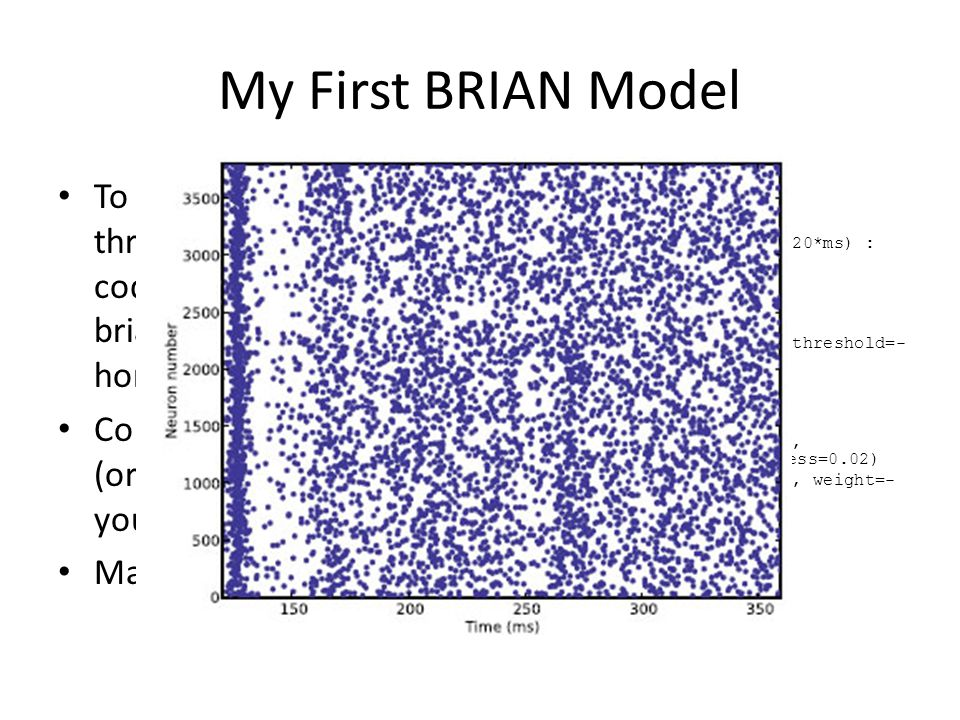 My First BRIAN Model To start, let's walk through the example code on briansimulator.org homepage Copy this text into IDLE (or whichever.py editor you're using) Make sure it runs first.