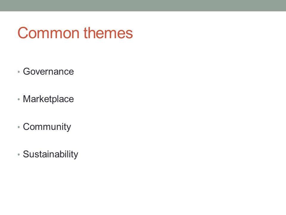 Common themes Governance Marketplace Community Sustainability