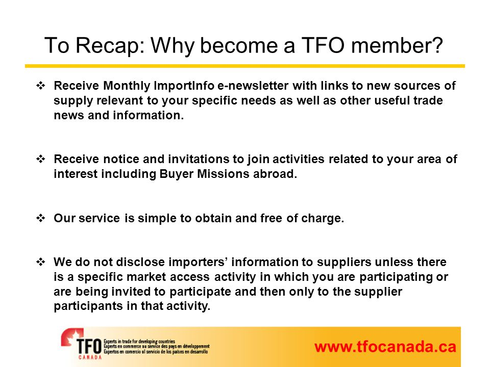 To Recap: Why become a TFO member.