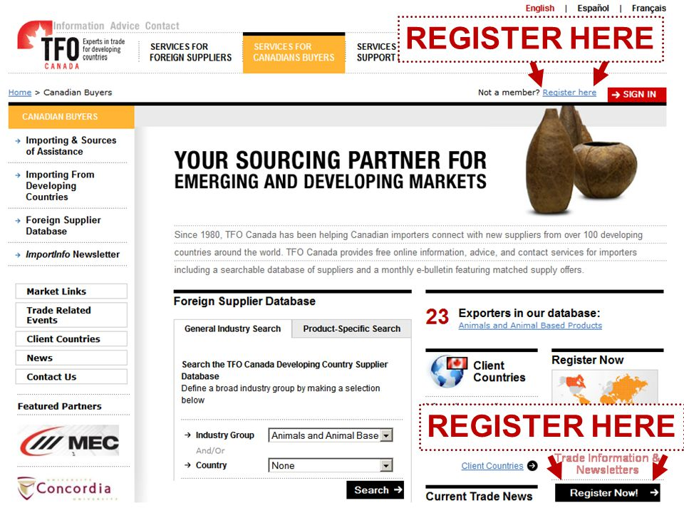 www.tfocanada.ca Homepage Services for Canadian Buyers (NON-REGISTERED) REGISTER HERE
