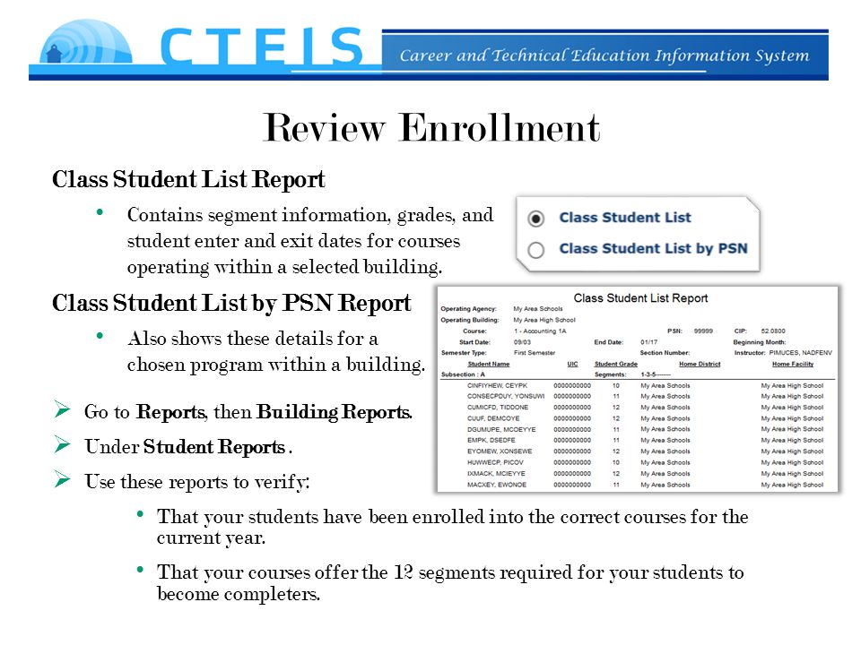 Review Enrollment Class Student List Report Contains segment information, grades, and student enter and exit dates for courses operating within a selected building.
