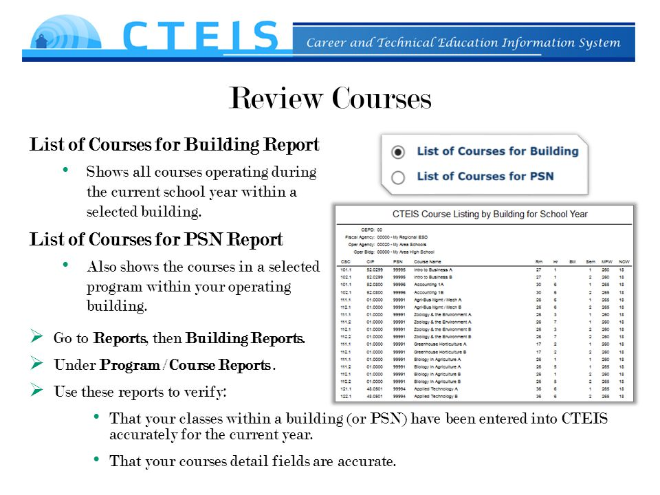 Review Courses List of Courses for Building Report Shows all courses operating during the current school year within a selected building.