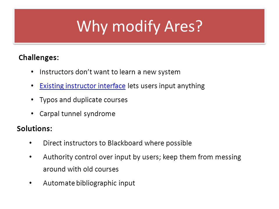 Why modify Ares.