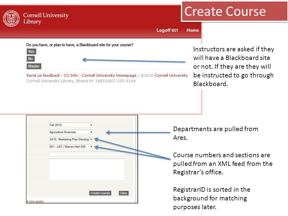 Create Course Instructors are asked if they will have a Blackboard site or not.