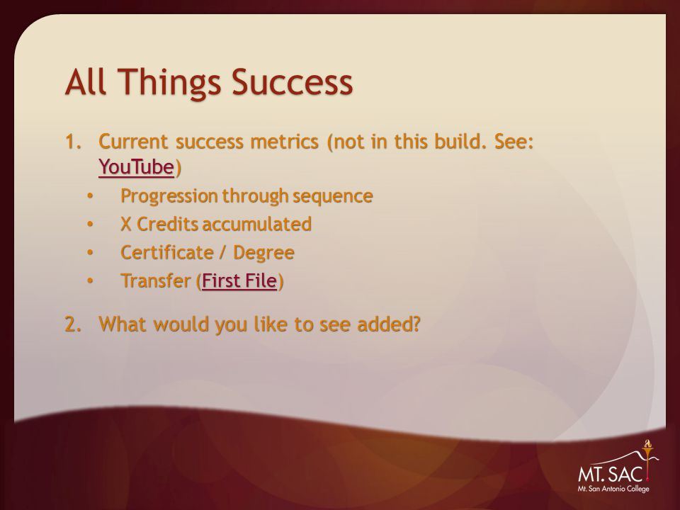 All Things Success 1.Current success metrics (not in this build.