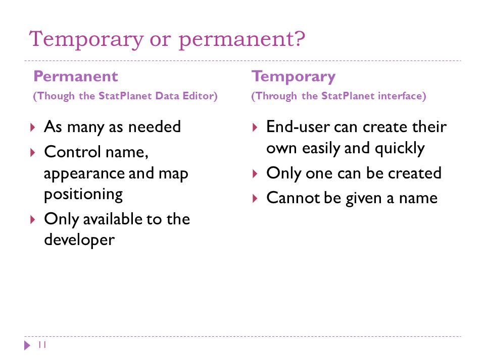 Temporary or permanent? Permanent (Though the StatPlanet Data Editor)  As many as needed  Control name, appearance and map positioning  Only availa