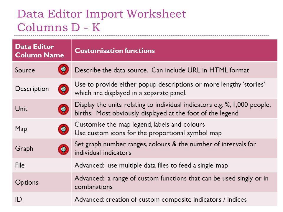 Data Editor Import Worksheet Columns D - K Data Editor Column Name Customisation functions SourceDescribe the data source.