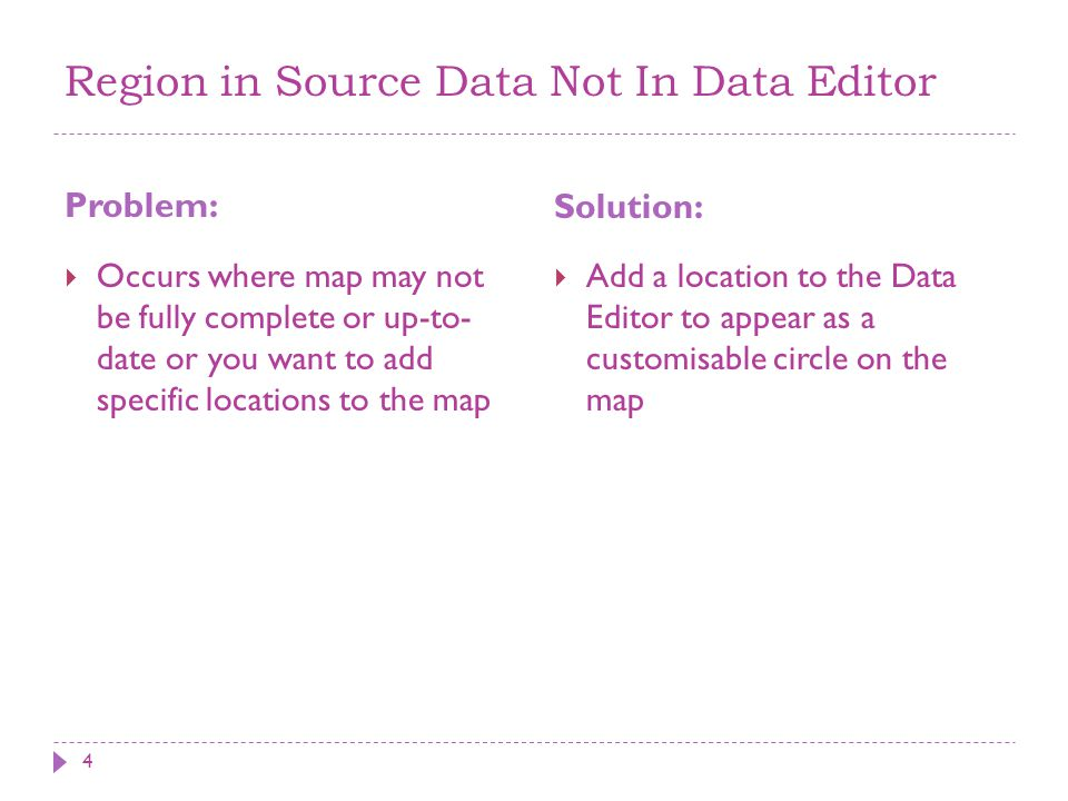 Region in Source Data Not In Data Editor Problem: Solution: 4  Occurs where map may not be fully complete or up-to- date or you want to add specific