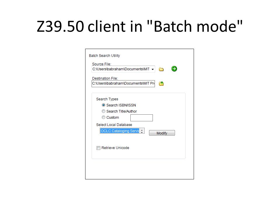 Z39.50 client in