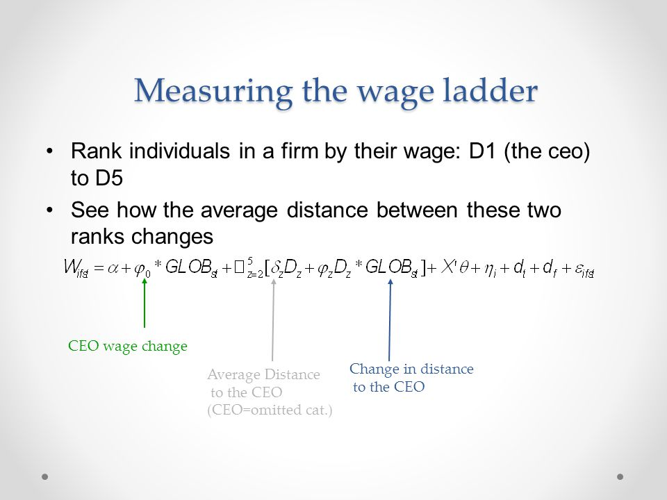 Measuring the wage ladder Rank individuals in a firm by their wage: D1 (the ceo) to D5 See how the average distance between these two ranks changes CE